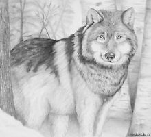 """""""Stalwart Guardian"""" -Wolf in forest by iLovePencils"""