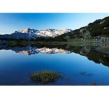 sunrise reflection of mountain peak to the lake Photographic Print