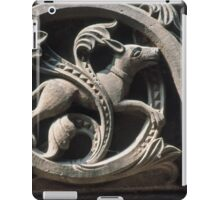 Hunting dog bas-relief Cornice outside crypt Cathedral Basel Switzerland 19840629 0022 iPad Case/Skin