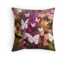 In The Flower Garden are Butterflies and Ground Squirrels  Throw Pillow