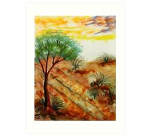 Tree needs rain close to dunes in desert. watercolor Art Print