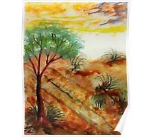 Tree needs rain close to dunes in desert. watercolor Poster