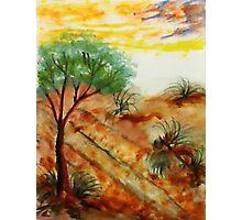 Tree needs rain close to dunes in desert. watercolor Photographic Print