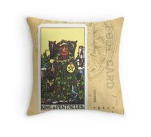 King Of Pentacles Tarot Card Throw Pillow