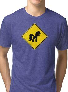 Pony Traffic Sign - Diamond Tri-blend T-Shirt