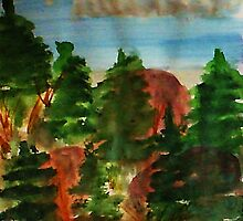 Amongst the pine trees, watercolor by Anna  Lewis, blind artist