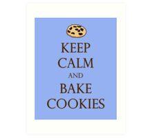 Blue Keep Calm and Bake Cookies Art Print