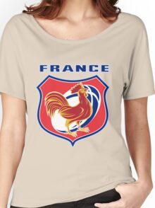 rooster cockerel france rugby shield Women's Relaxed Fit T-Shirt