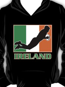 rugby player scoring try Ireland Flag T-Shirt