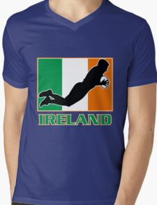 rugby player scoring try Ireland Flag Mens V-Neck T-Shirt
