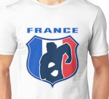rugby player running with ball France shield Unisex T-Shirt