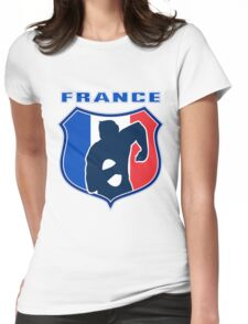 rugby player running with ball France shield Womens Fitted T-Shirt