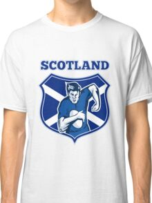 rugby player running with ball Scotland shield Classic T-Shirt