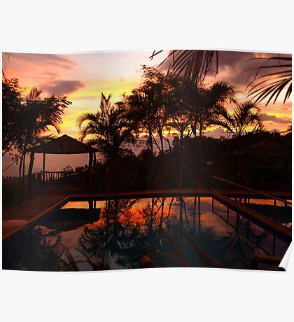 Tropical Sunset with refelection in the pool Poster