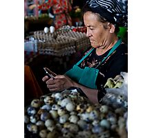 Quail eggs and technology Photographic Print
