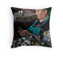 Quail eggs and technology Throw Pillow