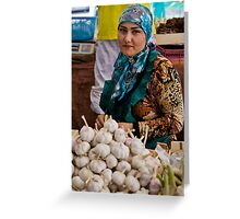 Garlic seller Greeting Card