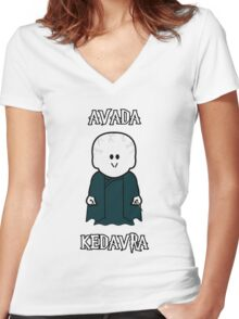"Weenicons: Harry Potter - Voldemort ""Avada Kedavra"" Women's Fitted V-Neck T-Shirt"