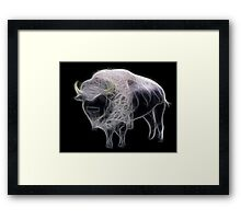 Medicine Wheel Totem Animals by Liane Pinel- White Buffalo Framed Print