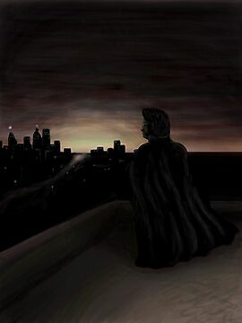 Skeptic-Man watches the city awaken by Octochimp Designs