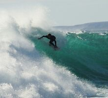 Surfing Jakes Point, Kalbarri, Western Australia by Julia Harwood