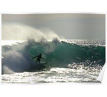 Surfer at Jakes Point Kalbarri, Western Australia Poster