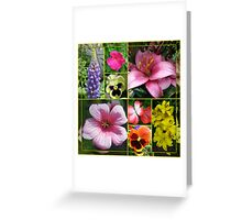 Lupin, Lilies, Geraniums and Pansies Collage Greeting Card