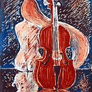 Girl with Cello monoprint by Gregory Pastoll