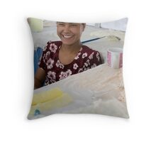 Cheeky yoghurt girl Throw Pillow