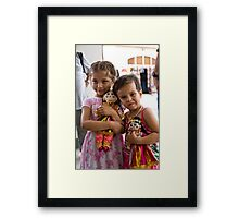 Girls and dolls Framed Print
