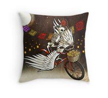 Skeleton on a Bike Throw Pillow