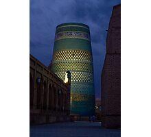 Khiva minaret at dusk Photographic Print