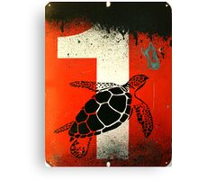 An Ocean of oil - Turtle Canvas Print