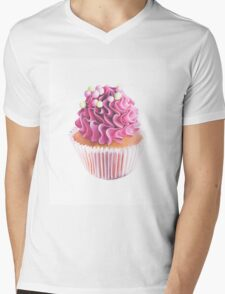 Pink Cupcake Art Mens V-Neck T-Shirt