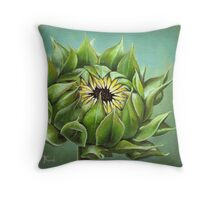 Closed sunflower Throw Pillow