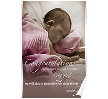 Newborn Baby Girl Remembering Her Sisters Poster