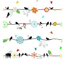 Birds on a wire with brightly colored flowers. Photographic Print