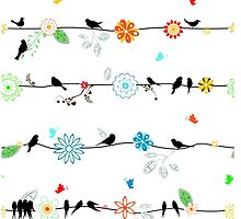 Birds on a wire with brightly colored flowers. by headpossum