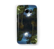 Moonset in coniferous forest Samsung Galaxy Case/Skin