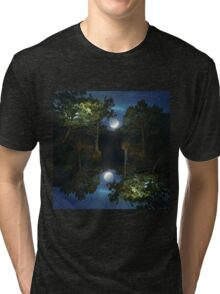Moonset in coniferous forest Tri-blend T-Shirt