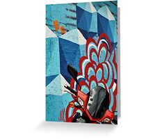 Red Motorcycle on Graffiti Wall Greeting Card