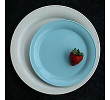strawberry on a blue plate Photographic Print