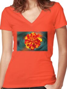Marigold Reflections Women's Fitted V-Neck T-Shirt