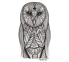 hand drawn portrait of an owl - black and white Photographic Print