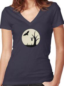 Moonlight Silhouette Women's Fitted V-Neck T-Shirt