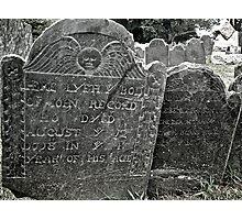 John Record grave, Farewell Street, Newport Rhode Island Photographic Print