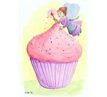Cherry fairy makes a cupcake Photographic Print