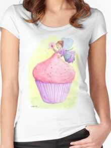 Cherry fairy makes a cupcake Women's Fitted Scoop T-Shirt