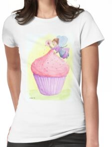 Cherry fairy makes a cupcake Womens Fitted T-Shirt