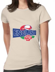 England Rugby Ball English Rose Womens Fitted T-Shirt